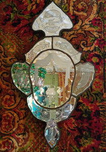 Antique Venetian Mirror, Murano, Hand Cut and Etched, c. 1900