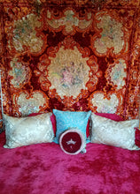 "Bohemian Velvet Bedspread, Washed Italian Theorem Painted, 102""w. x 96""l"
