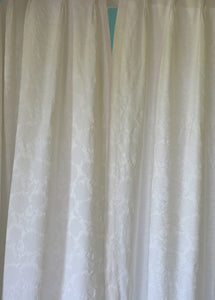 "Vintage Curtains, White on White Satin Brocade, 24""w. at pinch pleat top x 39""w. at bottom x 76""l."