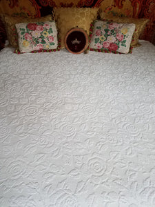 "White Chenille Bedspread, Hobnail Rose Pattern with Pom Poms, 102""l. x 80""w."
