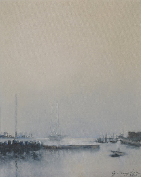 Oil Painting Seascape, Working Harbor, 8
