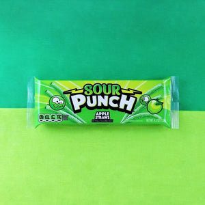 Sour Punch Straws, Sour Apple Flavor, Chewy Candy Straws, candy tray