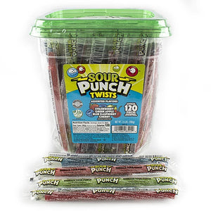 Sour Punch Twists, wrapped candy with jar