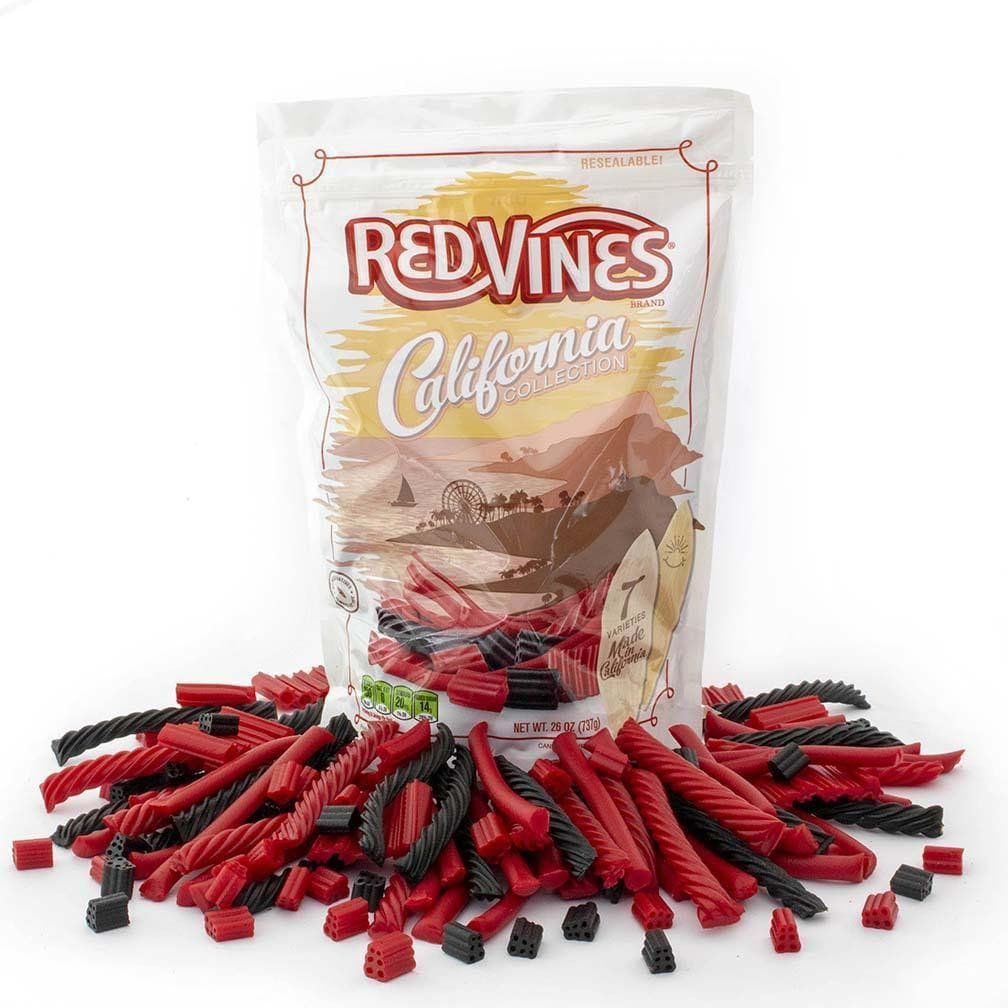 Red Vines Red & Black Licorice Assortment, California Collection, 26oz Bag, front of bag with raw candy