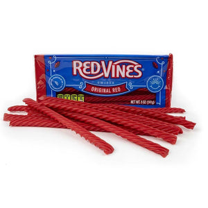 Red Vines Original Red Licorice Twists, 5oz Tray, front of tray with raw candy