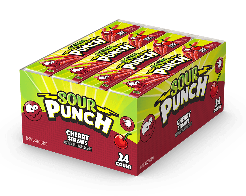 SOUR PUNCH Cherry Straws 2oz Tray(Business)