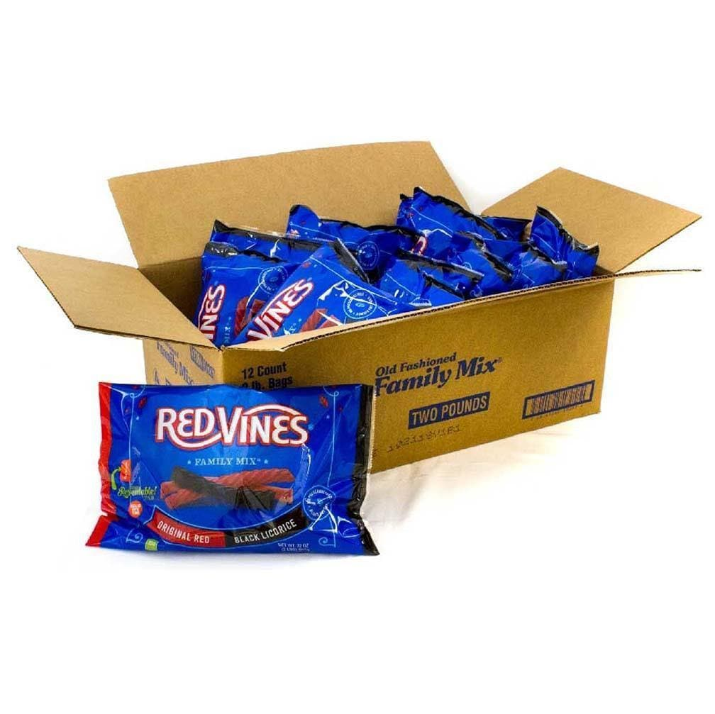 Red Vines Red & Black Licorice Family Mix, 32oz Bag, front of bag with raw candy