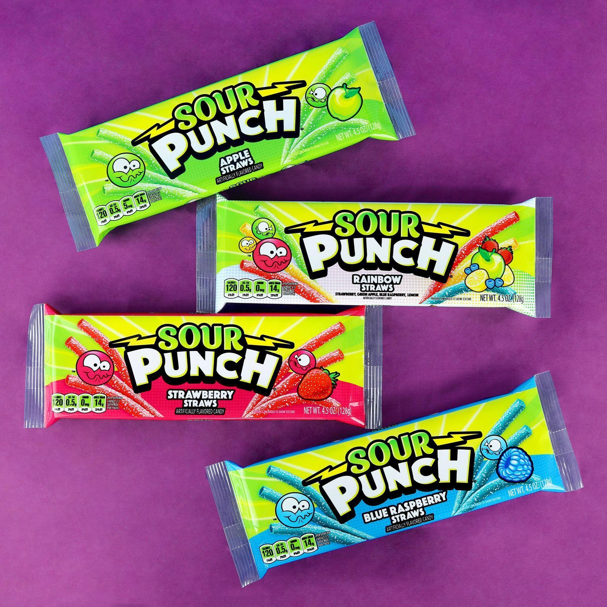 Sour Punch Straws, Apple, Blue Raspberry, Strawberry & Rainbow