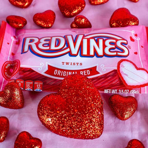 Red Vines Original Red Twists, Valentine's Day Pack (3.5oz), candy bag with hearts