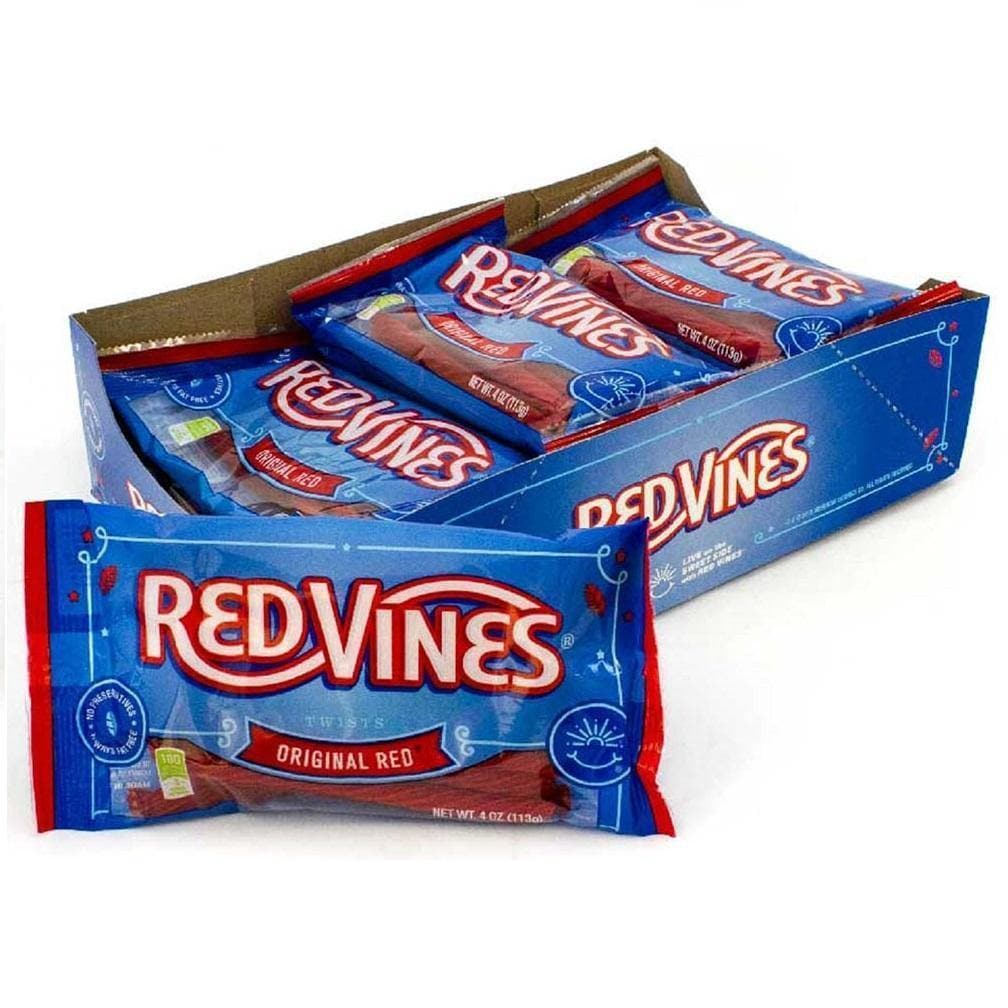 Red Vines Original Red Licorice Twists, Soft & Chewy Candy, 4oz Bag, raw candy with bag