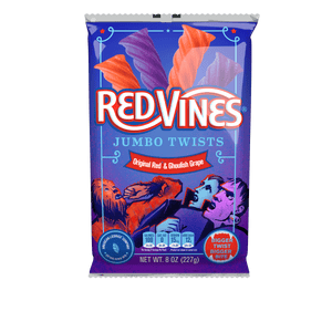 RED VINES Halloween Jumbo Twists Original Red & Ghoulish Grape 8oz Bag