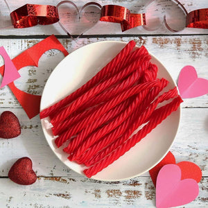 Red Vines Original Red Twists, Valentine's Day Pack (3.5oz), raw candy with valentines day decorations
