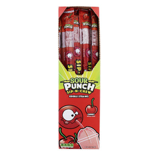 SOUR PUNCH Sip-N-Chew Straws, Cherry, .9oz (30 count)
