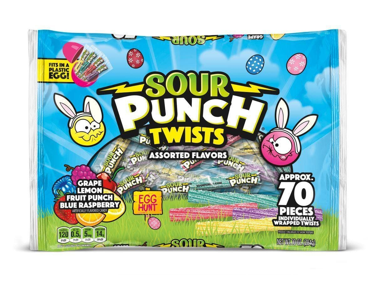 SOUR PUNCH Easter Twists, Individually Wrapped 2-inch Twists, 10oz Bag