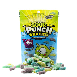 SOUR PUNCH Wild Bites, Narwhal Shapes, Assorted Sour Candy, 8oz Bag