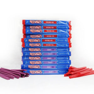 RED VINES Original Red & Grape 4oz Trays Stacked
