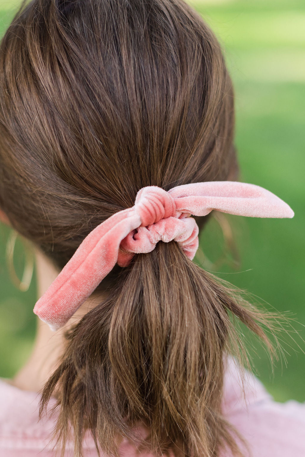Velvet Bow Hair Scrunchie (Living Coral)