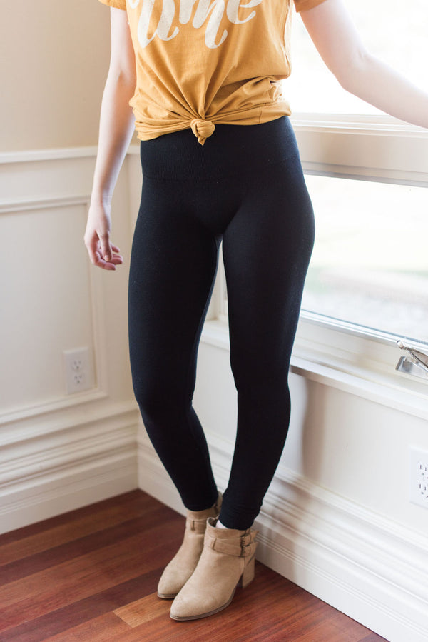 Empire Waist Compression Cotton Leggings (Black)