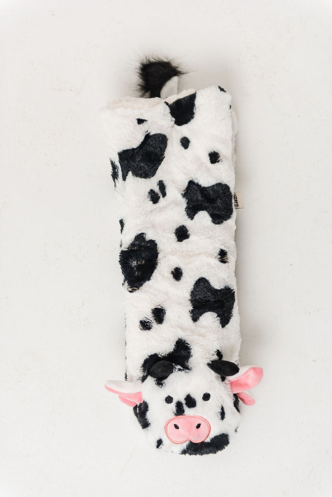 Animal Plush Sherpa Slippers (Cow)