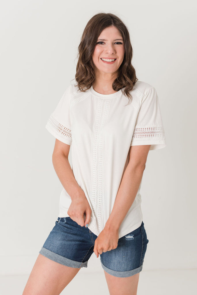 Birdie Knit Top With Lace Trimmed Detail