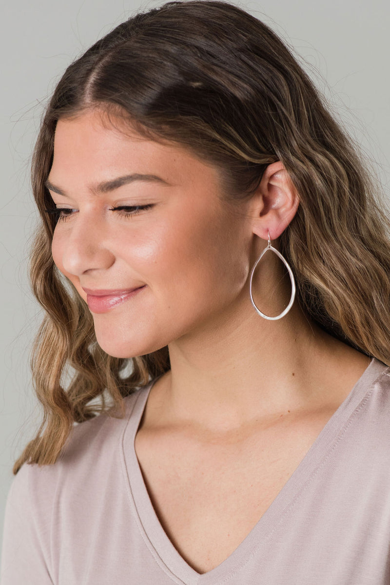 Teardrop Metal  Dangly Earring