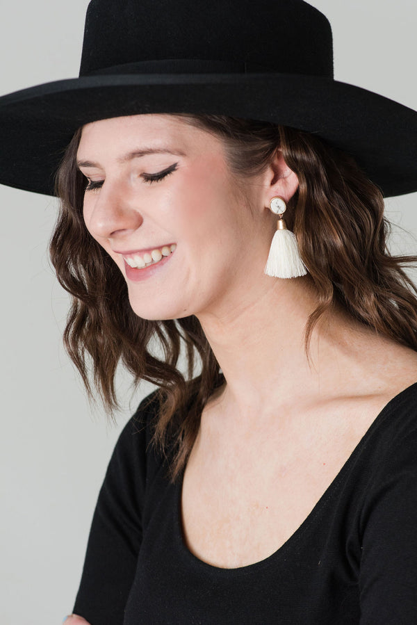Tassel Earrings With Stone