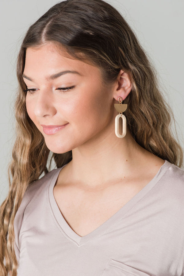 Metal and Post Earring