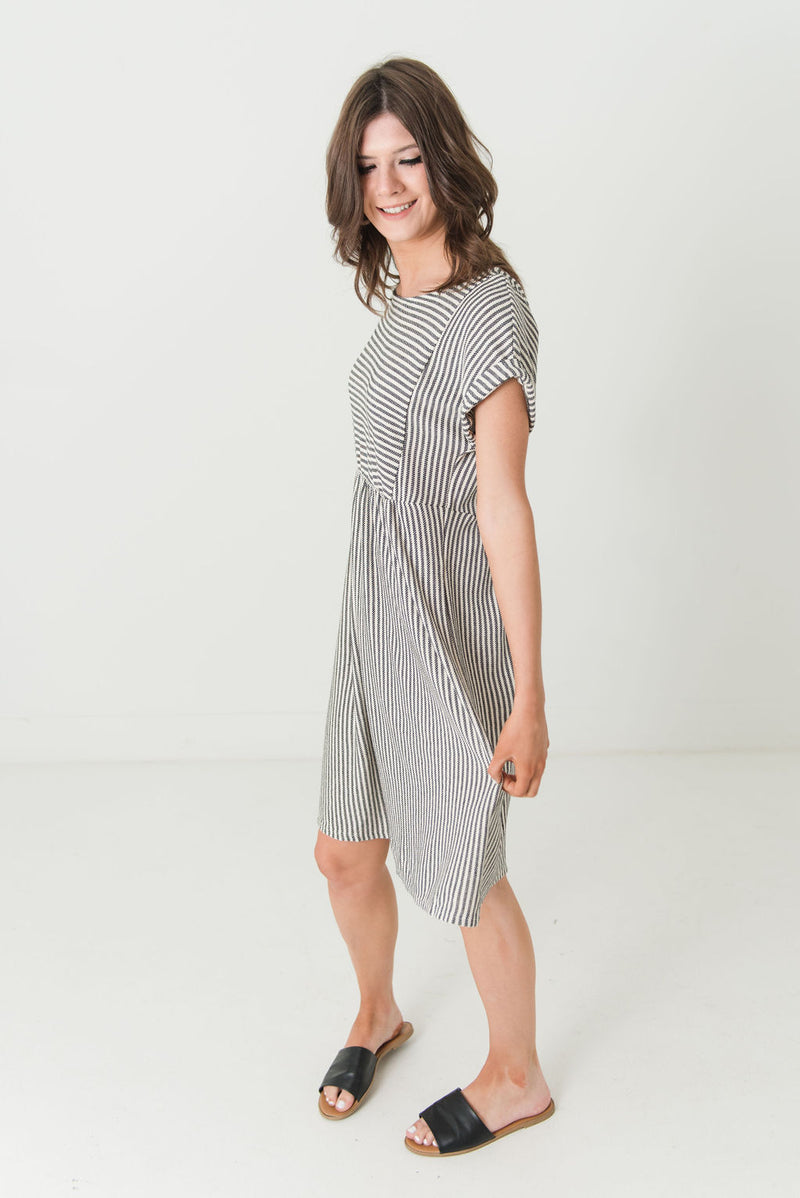 Saylor Striped Button Backed Dress