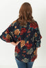 Anna Floral Print With Layered Bell Sleeves Navy Mix