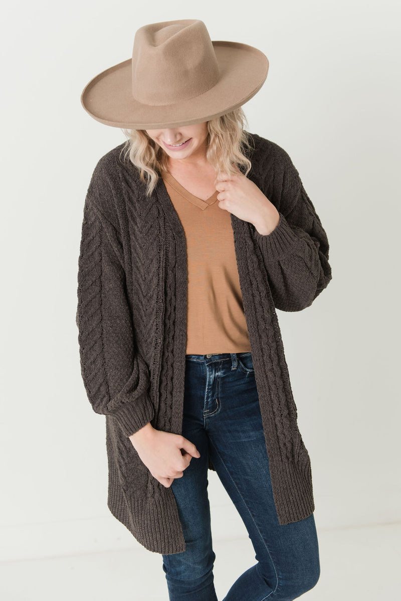 Tyra Chenille Open Front Cardigan Dark Brown