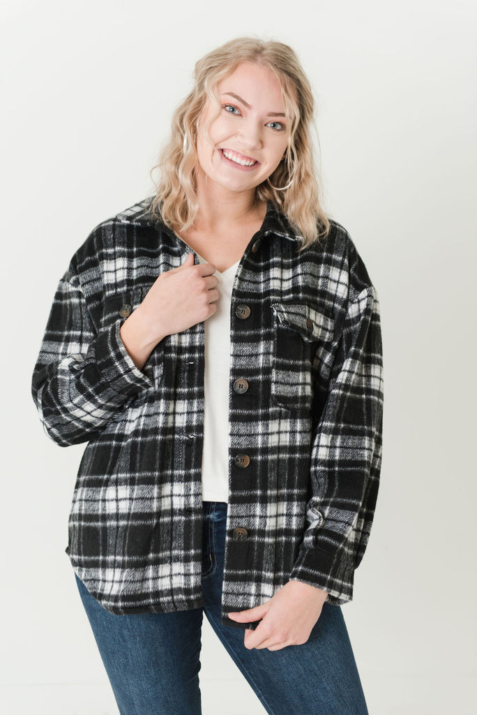 Lisa Plaid Sweater Jacket Black