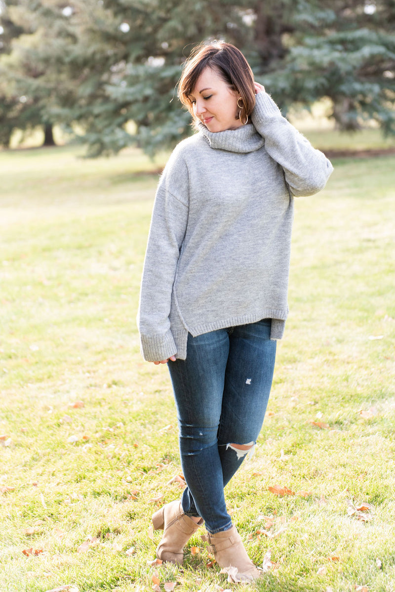 Lacey Soft Turtleneck Sweater Heather Grey