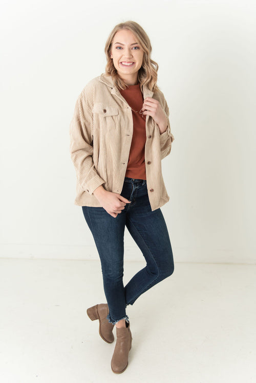 Autumn Corduroy Button Up Jacket Beige