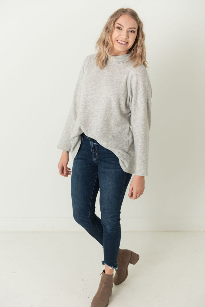 Chris Textured Cowl Neck Top Heather Grey