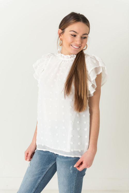 Maddie Swiss Dot Ruffled Sleeve Blouse