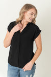 Flora Cuffed Sleeve V-Neck Top