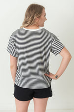 Black and White Striped Knit Top