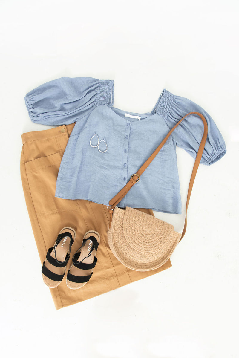 Bubble Sleeve Button Up Top