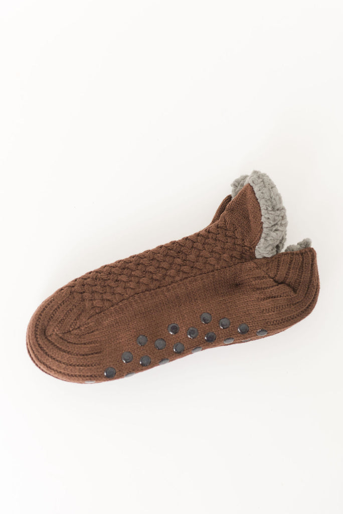 Mens Basket Weave Sherpa Socks with No Skid Sole