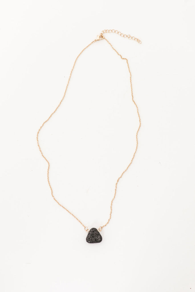 Black Triangle Lava Stone Necklace (Gold)