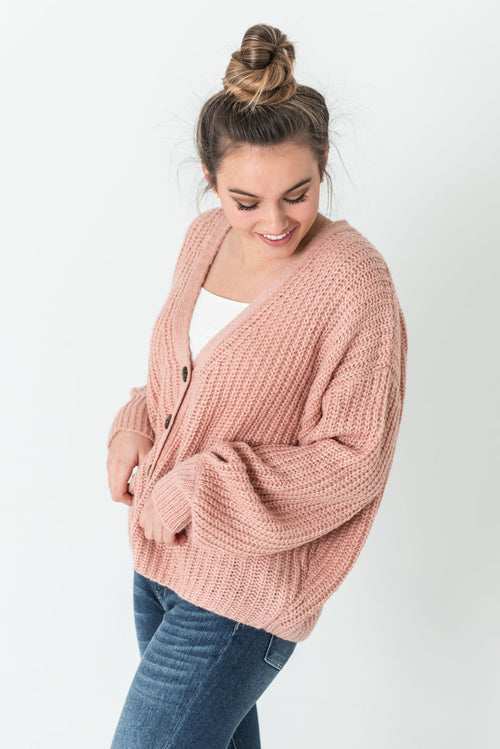 Keaton Chunky Knit Button Front Cardigan