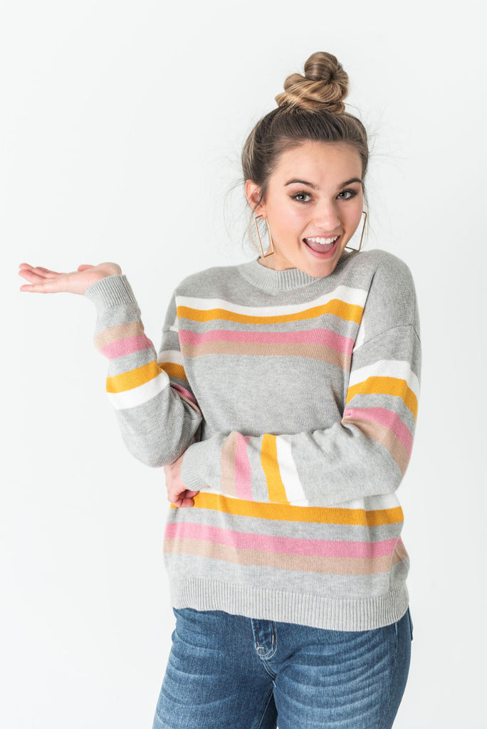Stacey Striped Crew Neck Sweater Heather Grey