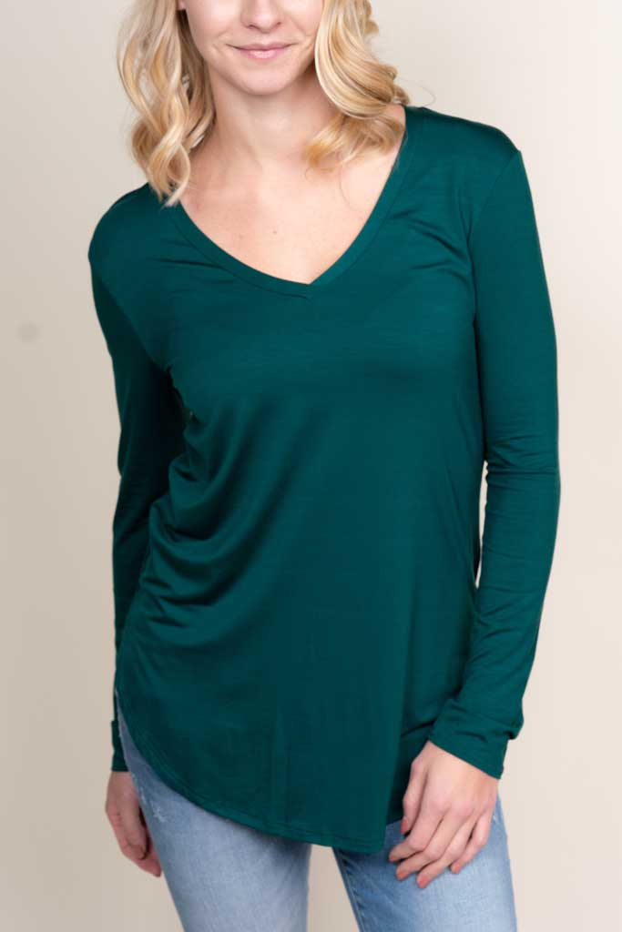 Modal Long Sleeve V-Neck Top (Available in 7 Colors)