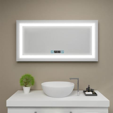 LED BACKLIT BATHROOM VANITY CLOCK MIRROR W/ TOUCH BUTTON MS7920-4824FC