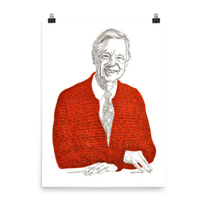 Fred Rogers 18 x24 Print for Self-Framing