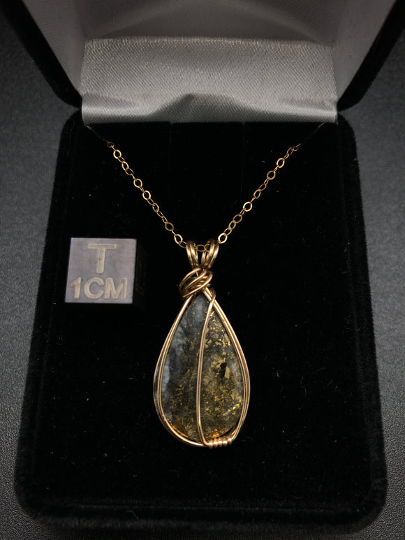 Natural Gold in Quartz Pendant