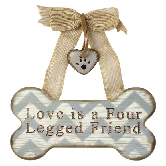 Love Four Legged Friend - Wood Bone Shaped Wall Sign