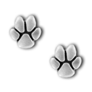 Paw Print Pewter Stud Earrings