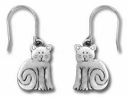 Sitting Cat Pewter Drop Earrings