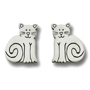 Sitting Cat Pewter Post Earrings